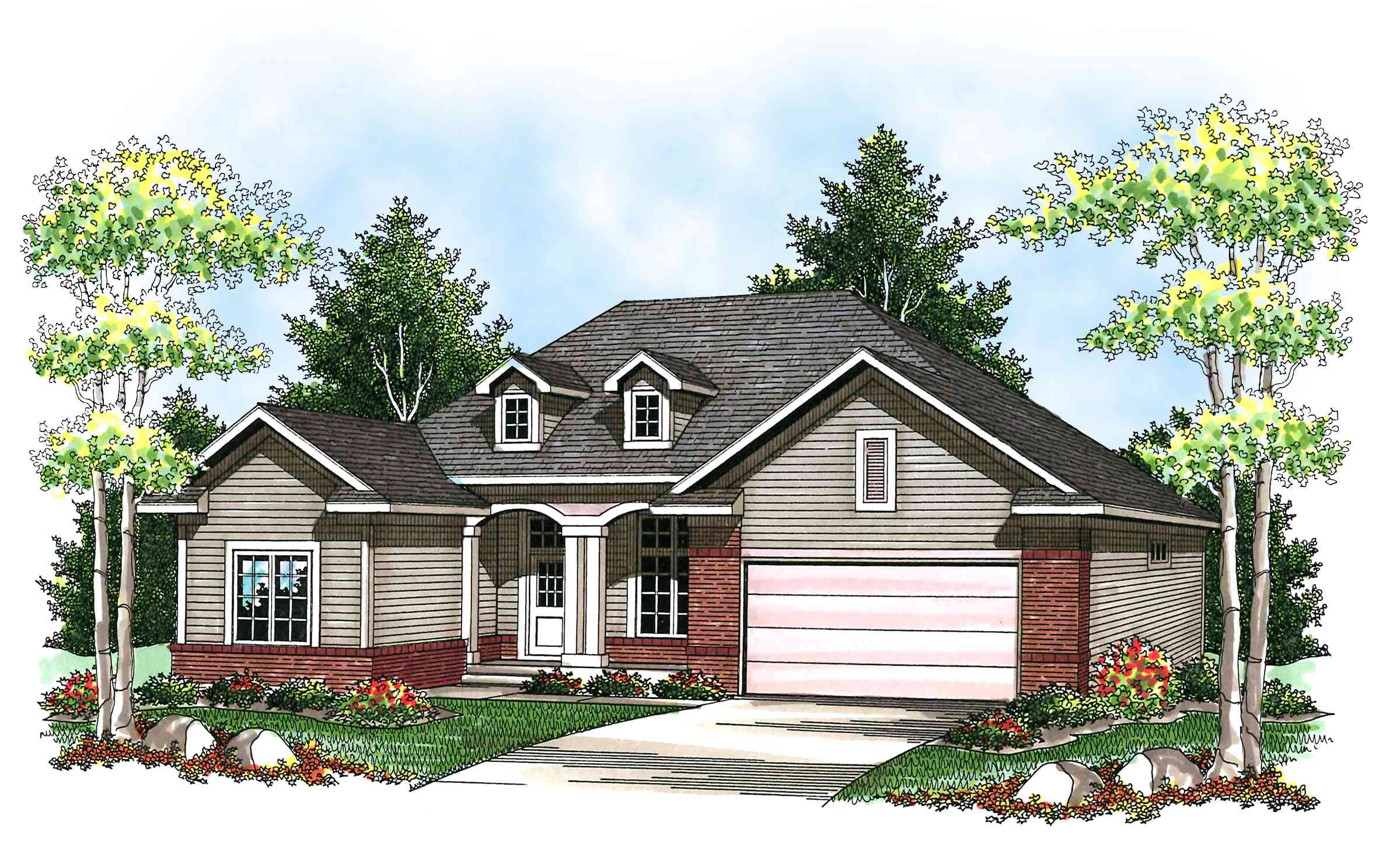 Twin dormer accents 89665ah architectural designs for Twin home plans