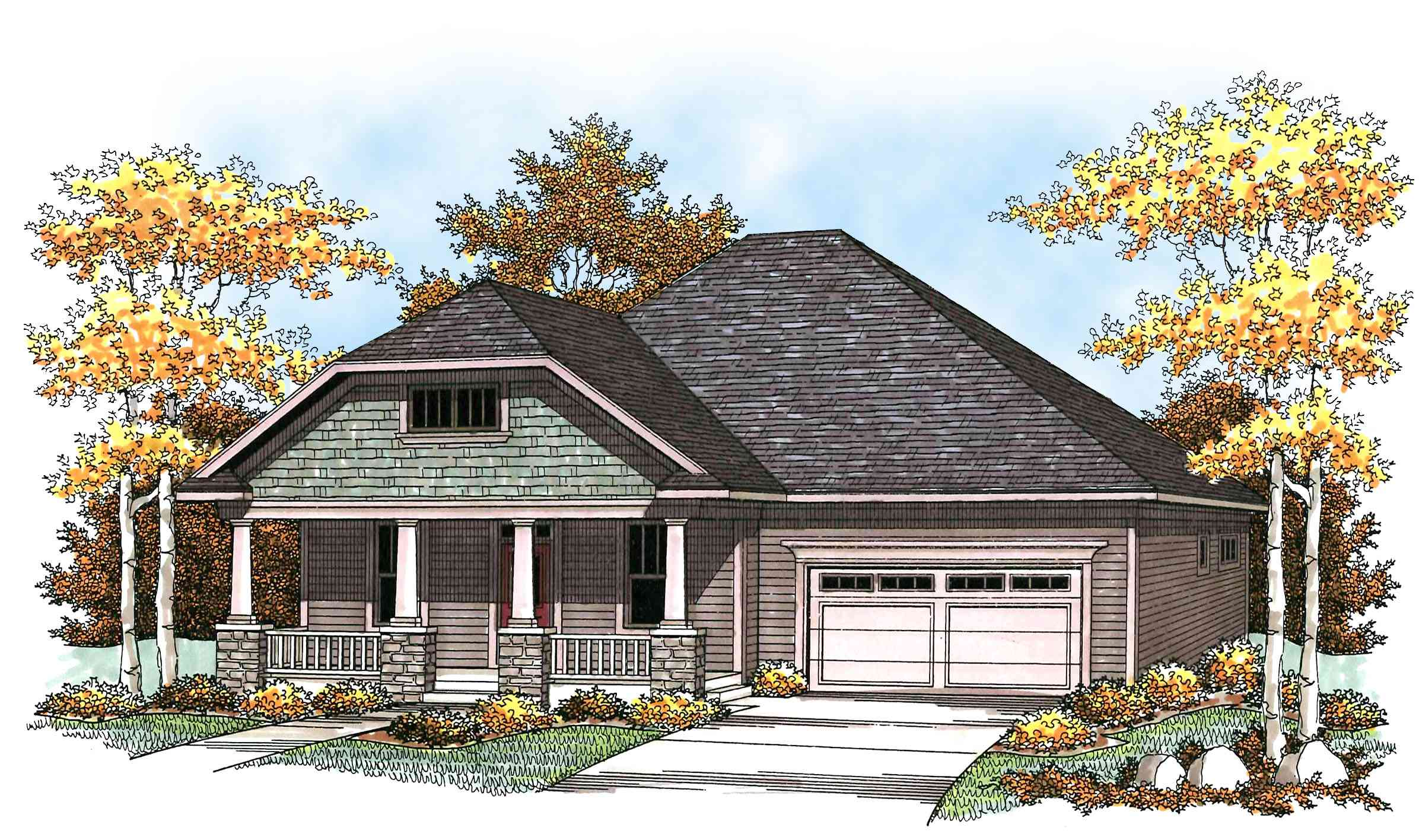 Craftsman with spacious front porch 89668ah for Spacious house plans
