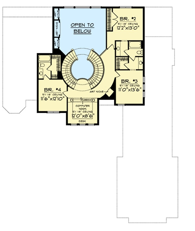 Two curved staircases 89677ah 1st floor master suite for Curved staircase design plans