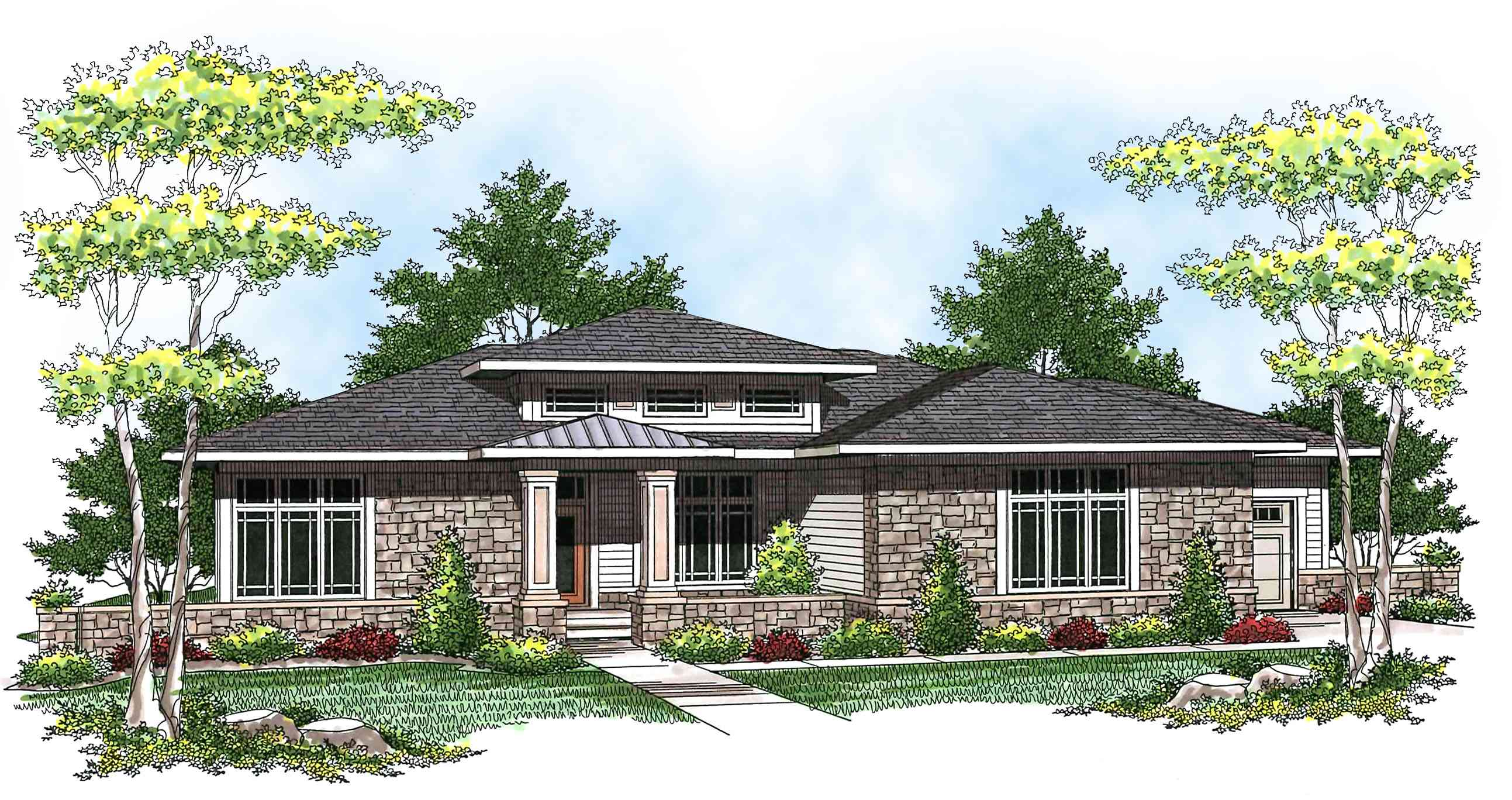 Prairie style ranch home plan 89684ah architectural for Prairie house plans