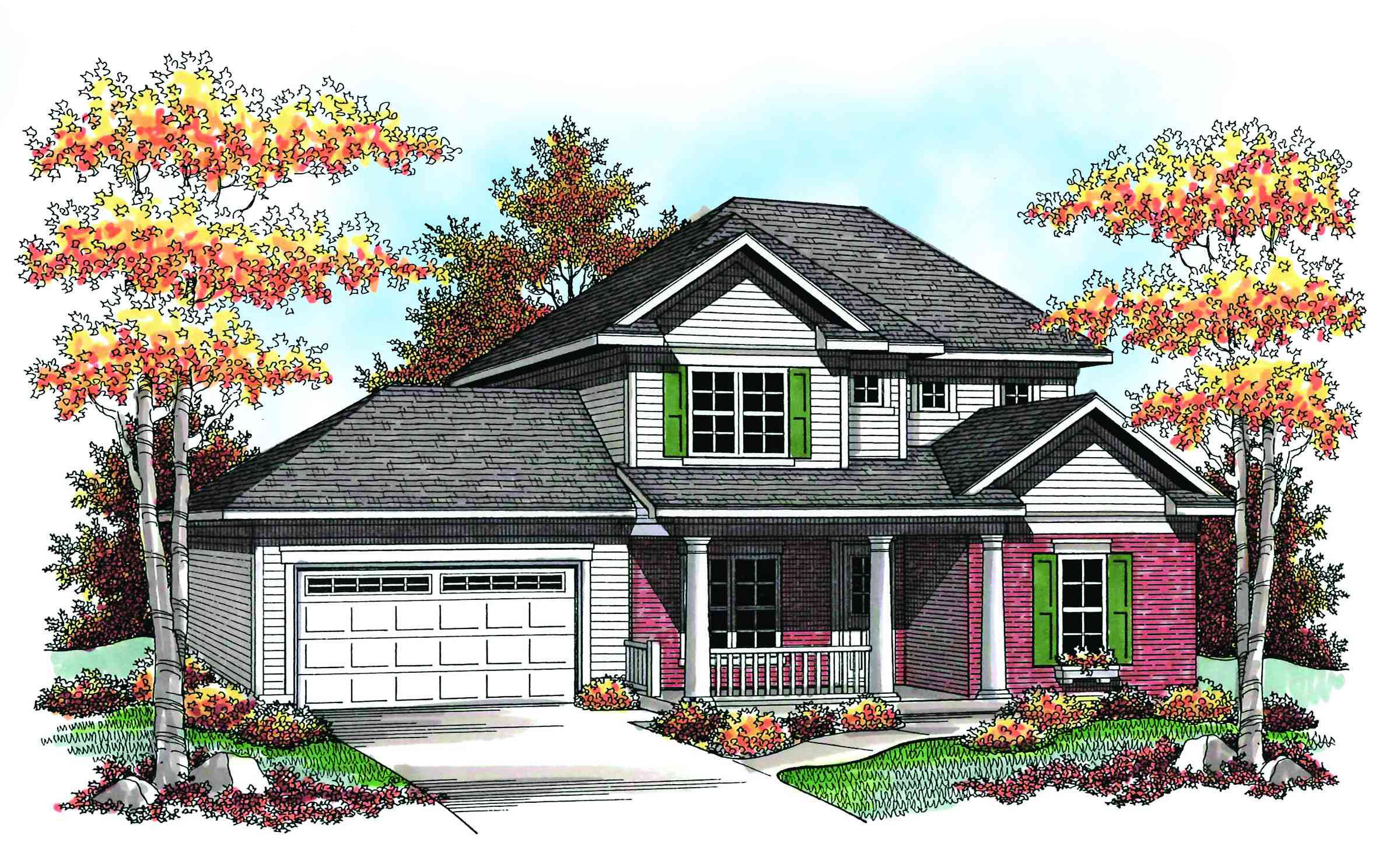 Traditional two story 89698ah architectural designs for Traditional 2 story house
