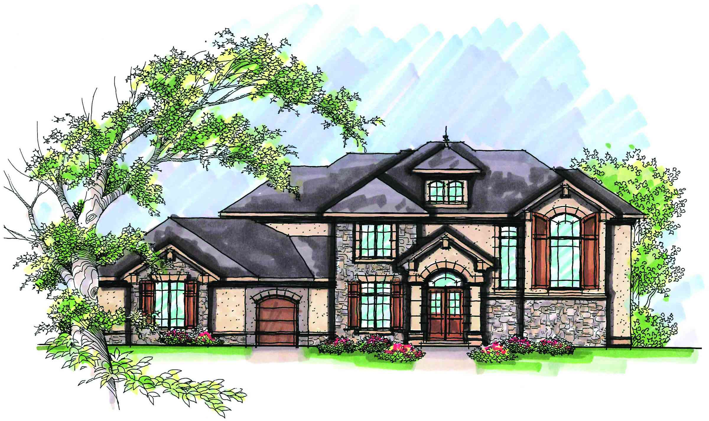 Two story stucco dream home 89757ah 1st floor master for House plans with 2 story library