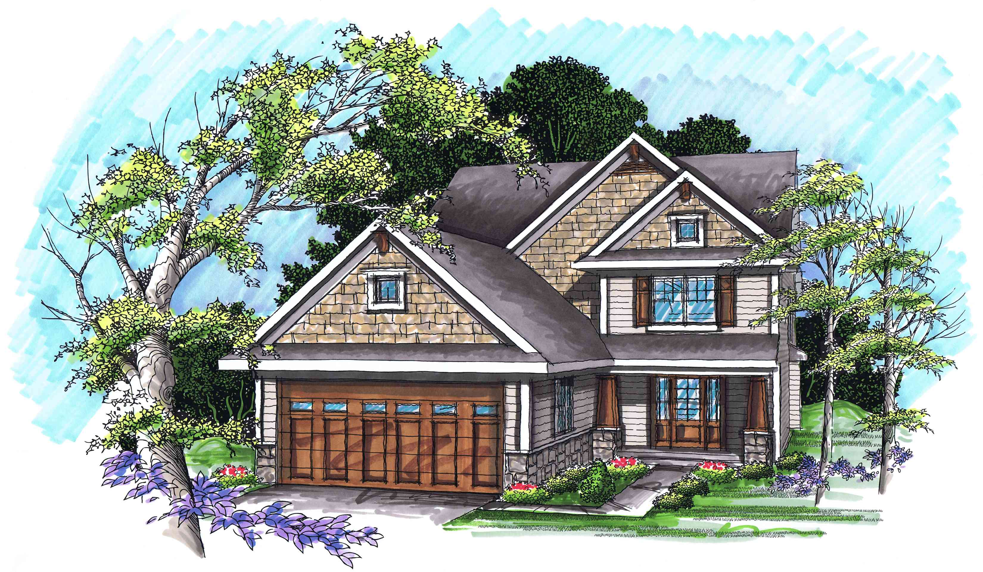 Two story craftsman with two story foyer 89785ah 1st for Two story craftsman
