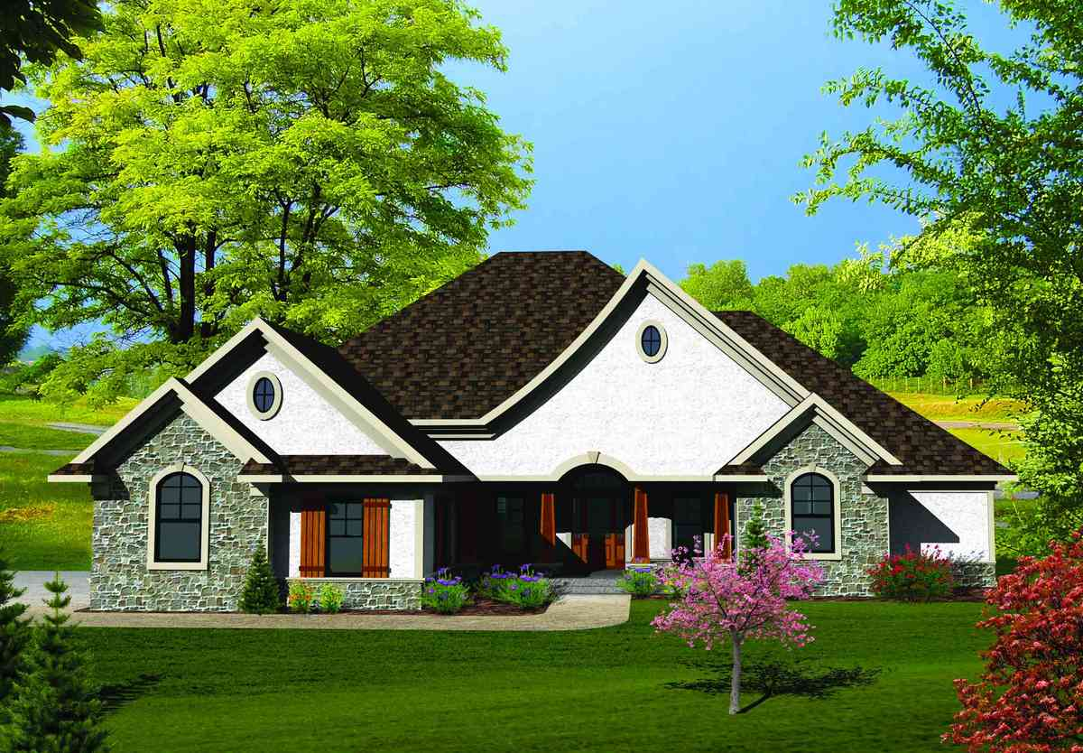 Single story country french home 89803ah architectural for Single story country house plans