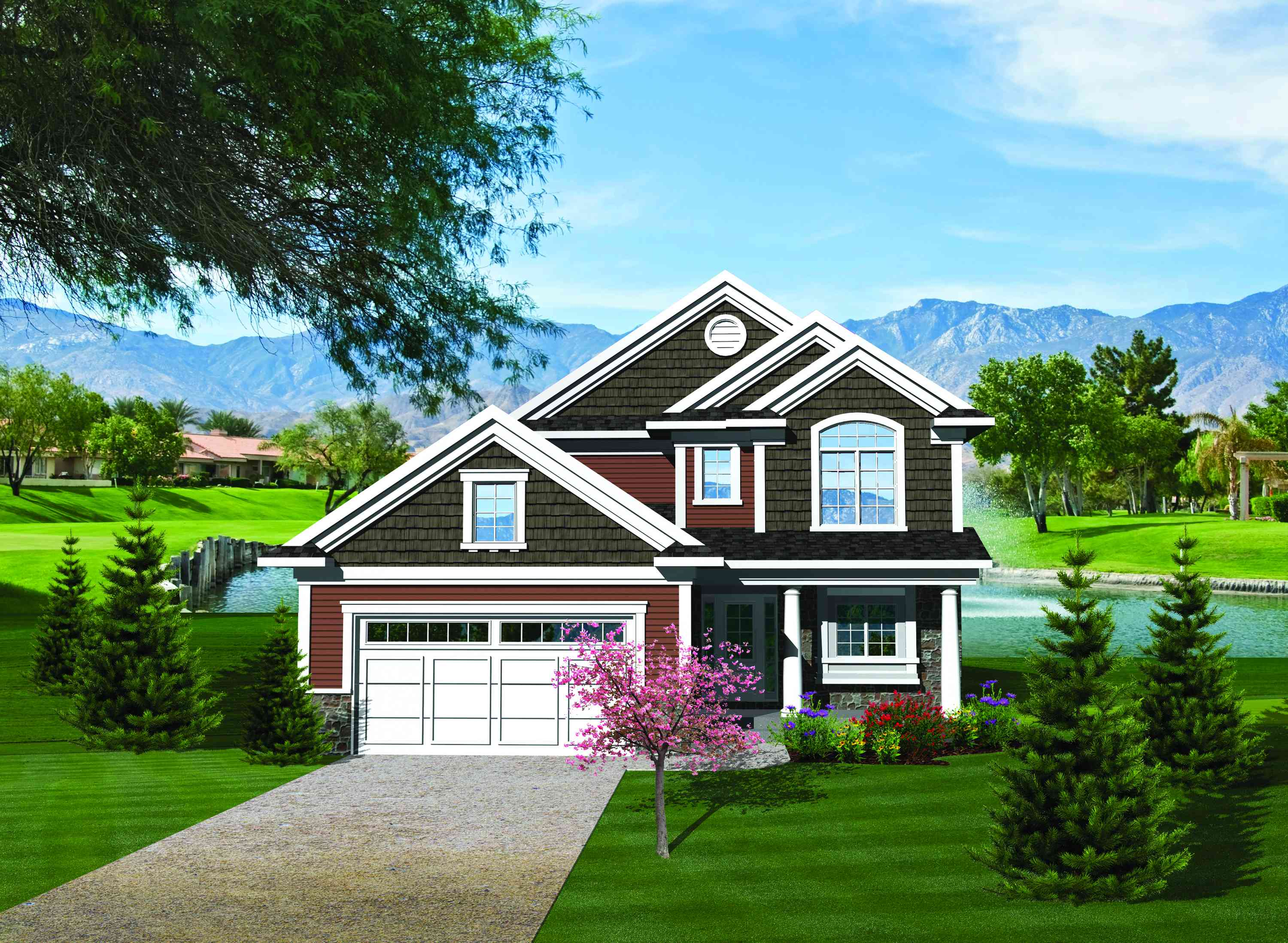 Traditional home plan for a narrow lot 89814ah for Architecturaldesigns com house plan 56364sm asp