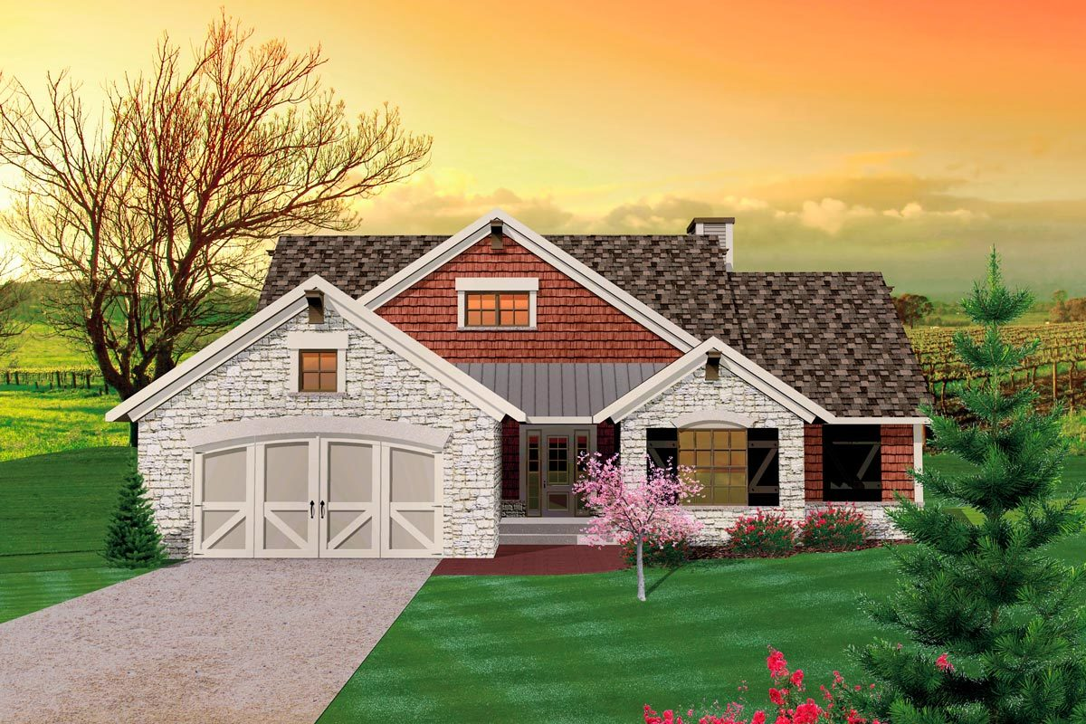 3 bedroom hill country rambler 89815ah architectural for Rambler home plans