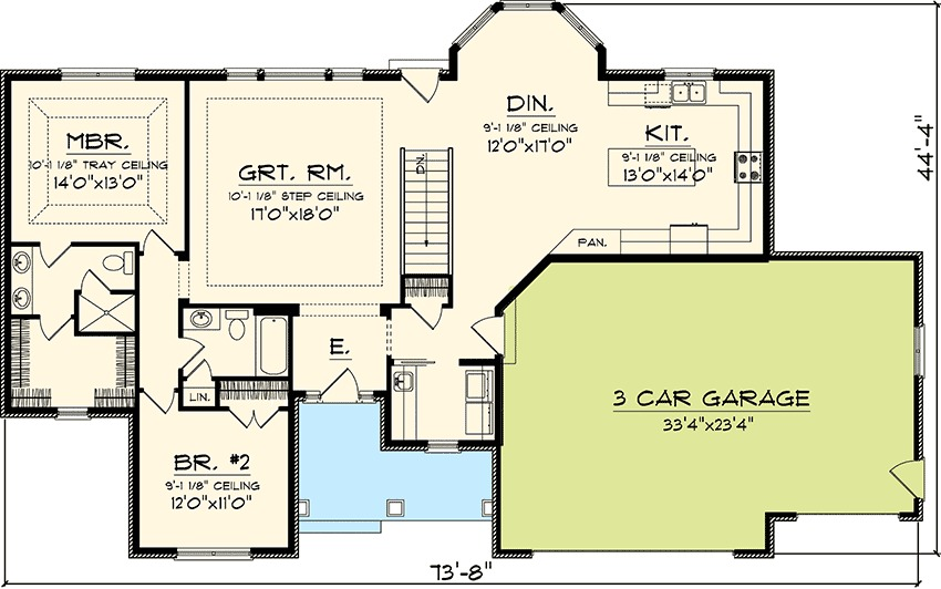 Updated 2 Bedroom Ranch Home Plan 89817ah 1st Floor