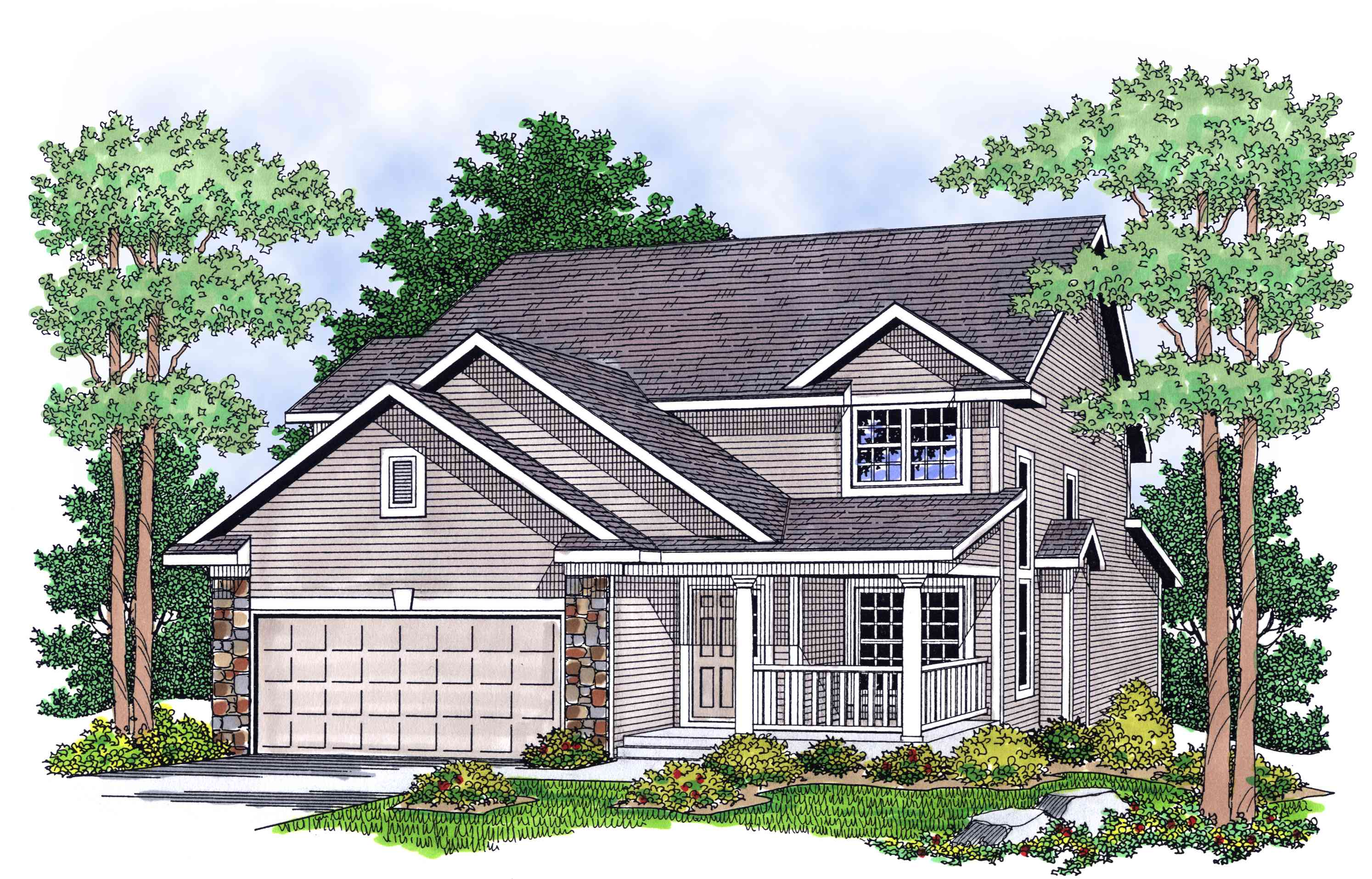 Two Story Country Home Plan 8982ah Architectural