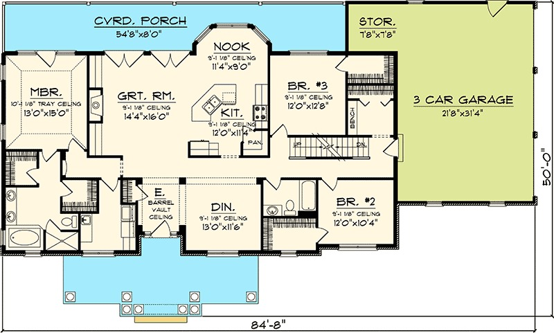 3 bedroom rambling ranch 89821ah 1st floor master for 3 bedroom floor plans with bonus room