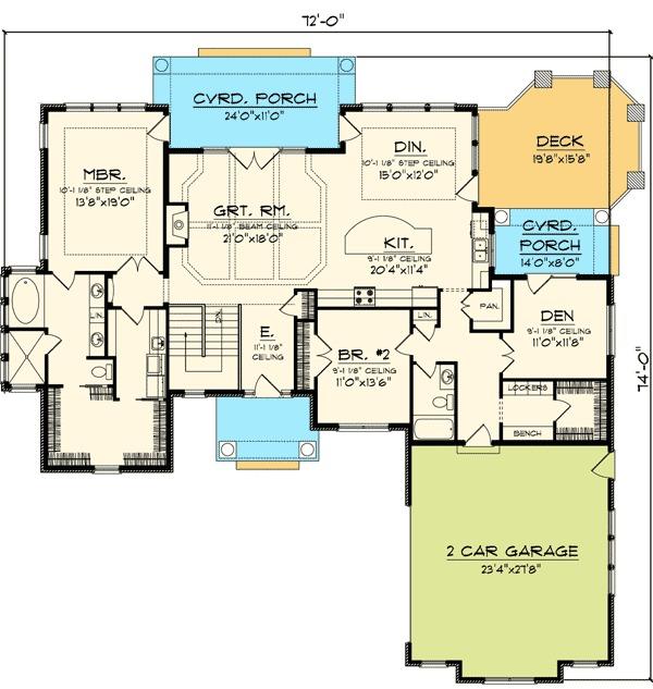 2 Bedroom Hip Roof Ranch Home Plan 89825ah 1st Floor