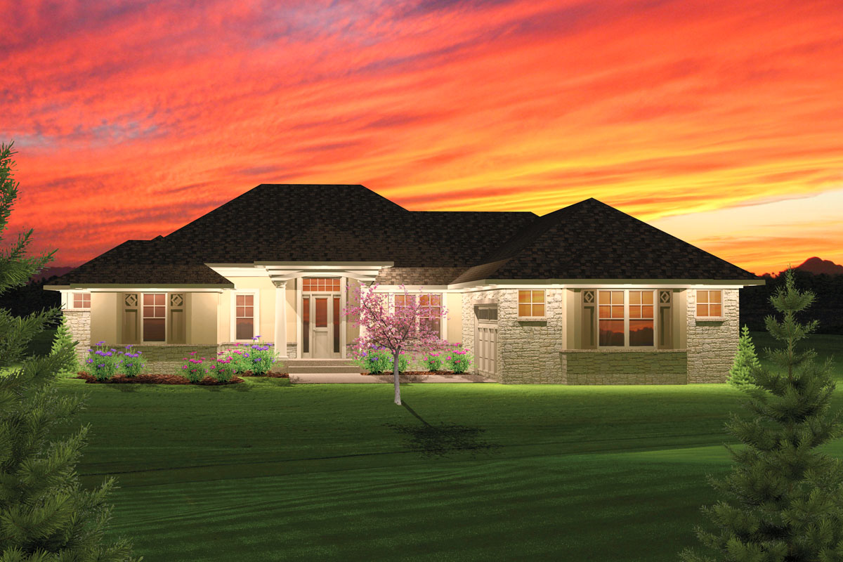2 Bedroom Hip Roof Ranch Home Plan