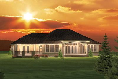 2 Bedroom Hip Roof Ranch Home Plan 89825ah