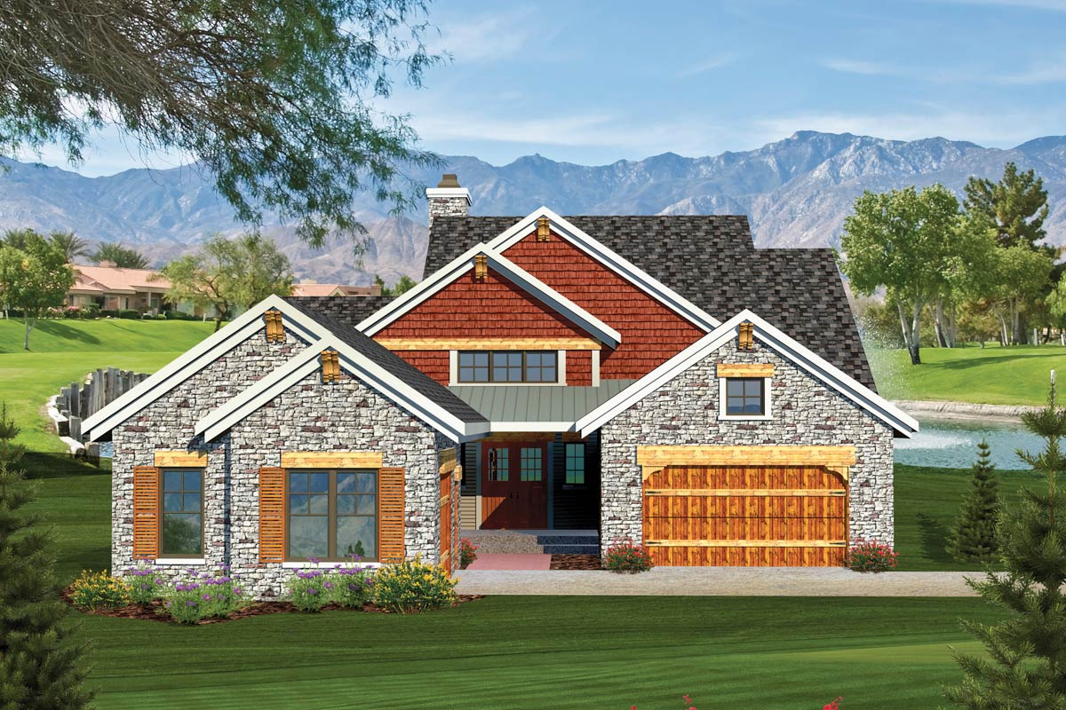 2 bedroom rustic ranch home plan 89826ah architectural for 2 bedroom ranch home plans