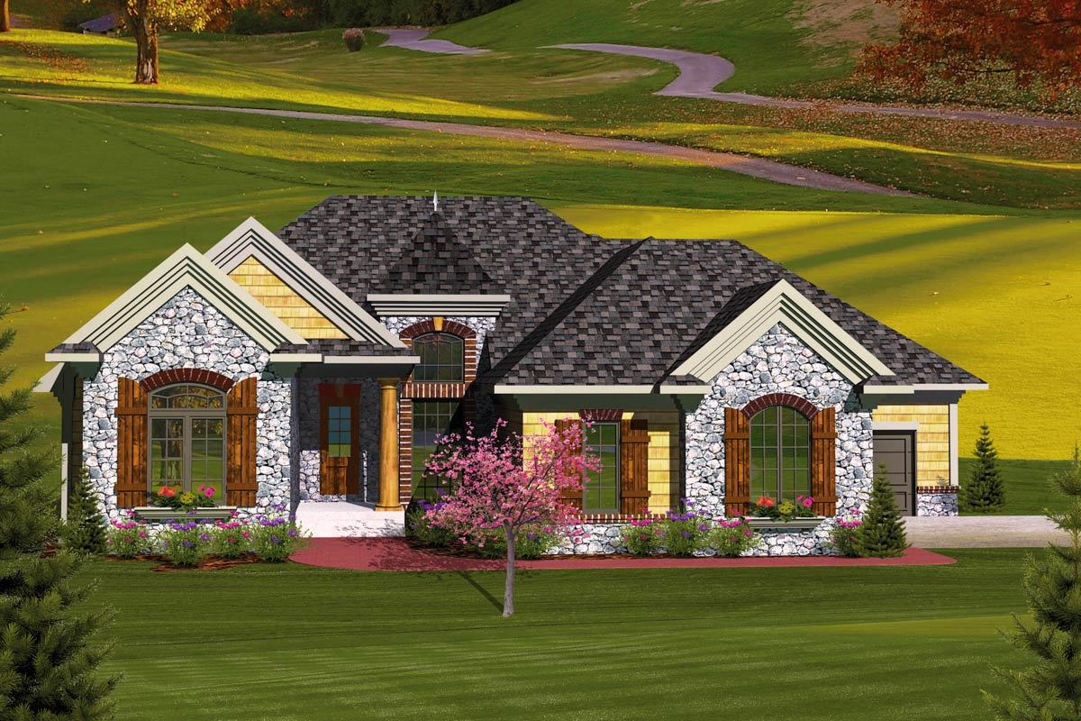 3 bedroom european home plan 89827ah architectural for European house plans with photos