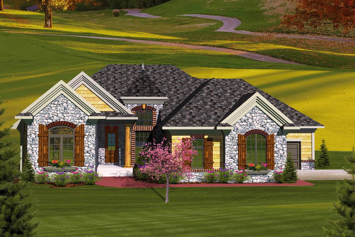 3 bedroom european home plan 89827ah architectural for European farmhouse plans