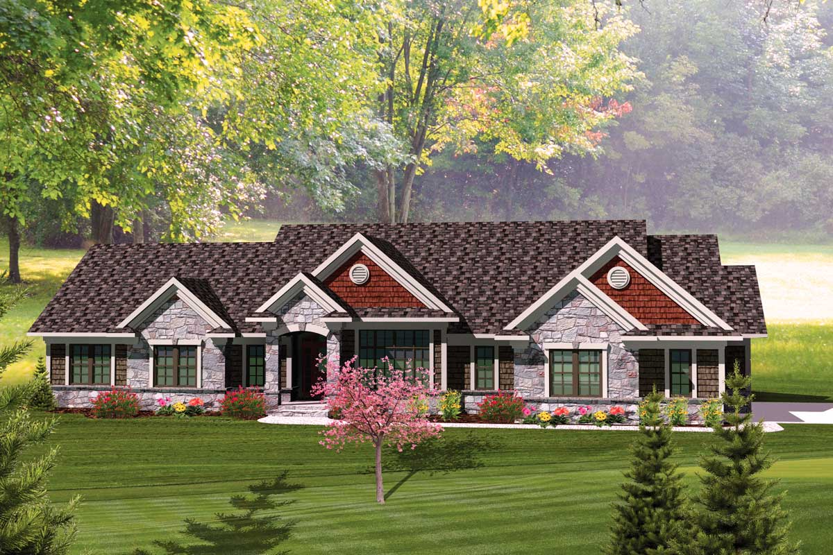 Rambling 3 bedroom ranch home plan 89828ah for 3 bedroom ranch house