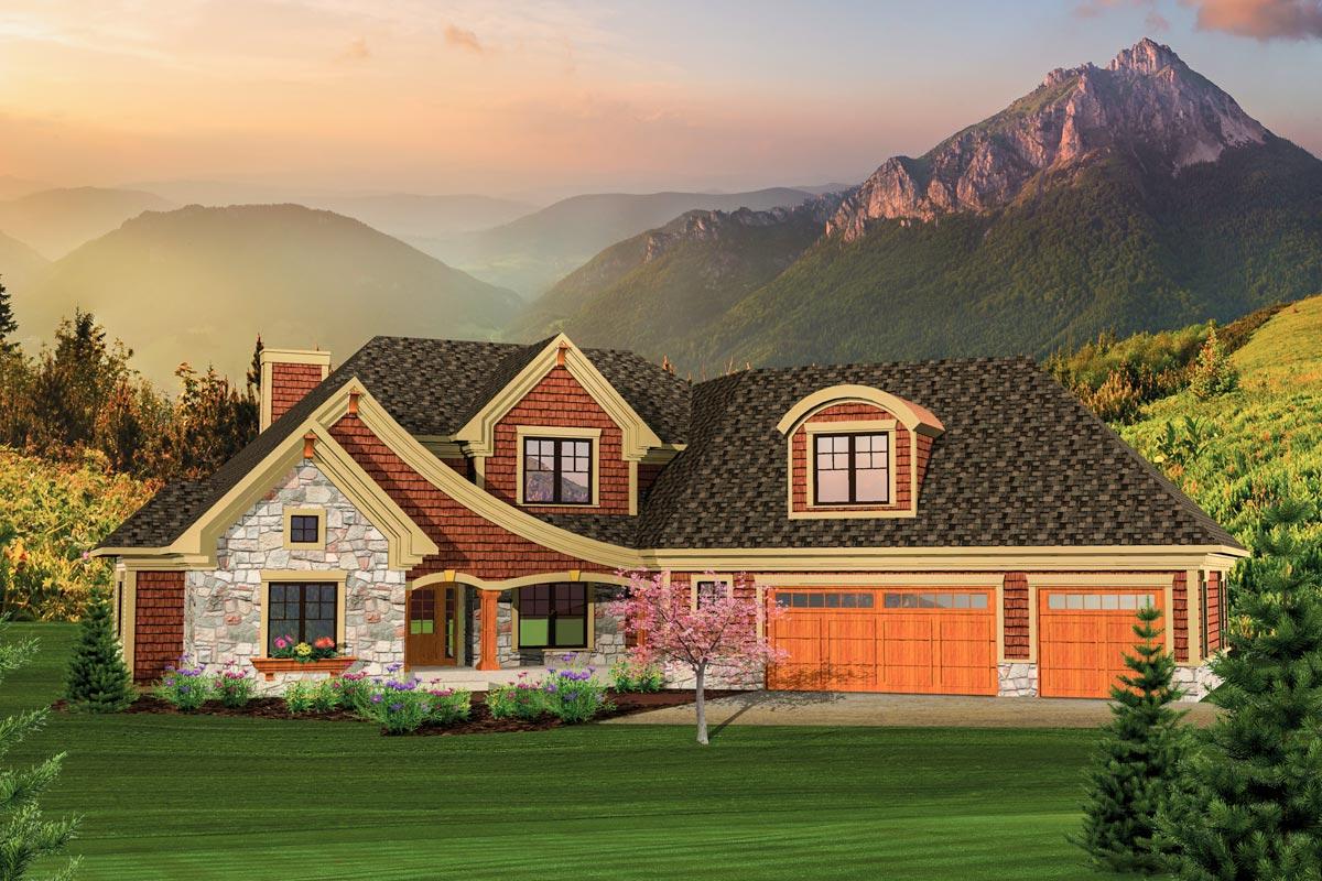 Angled Garage Home Plan - 89830AH