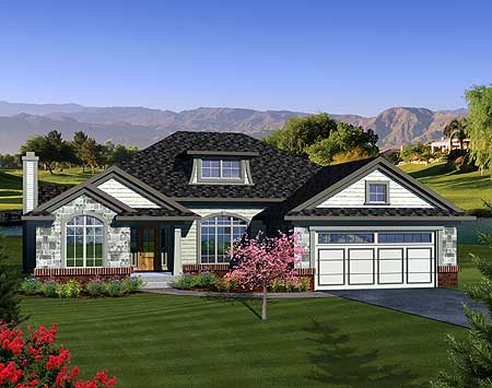 Open concept ranch home plan 89845ah 1st floor master for Open concept craftsman house plans