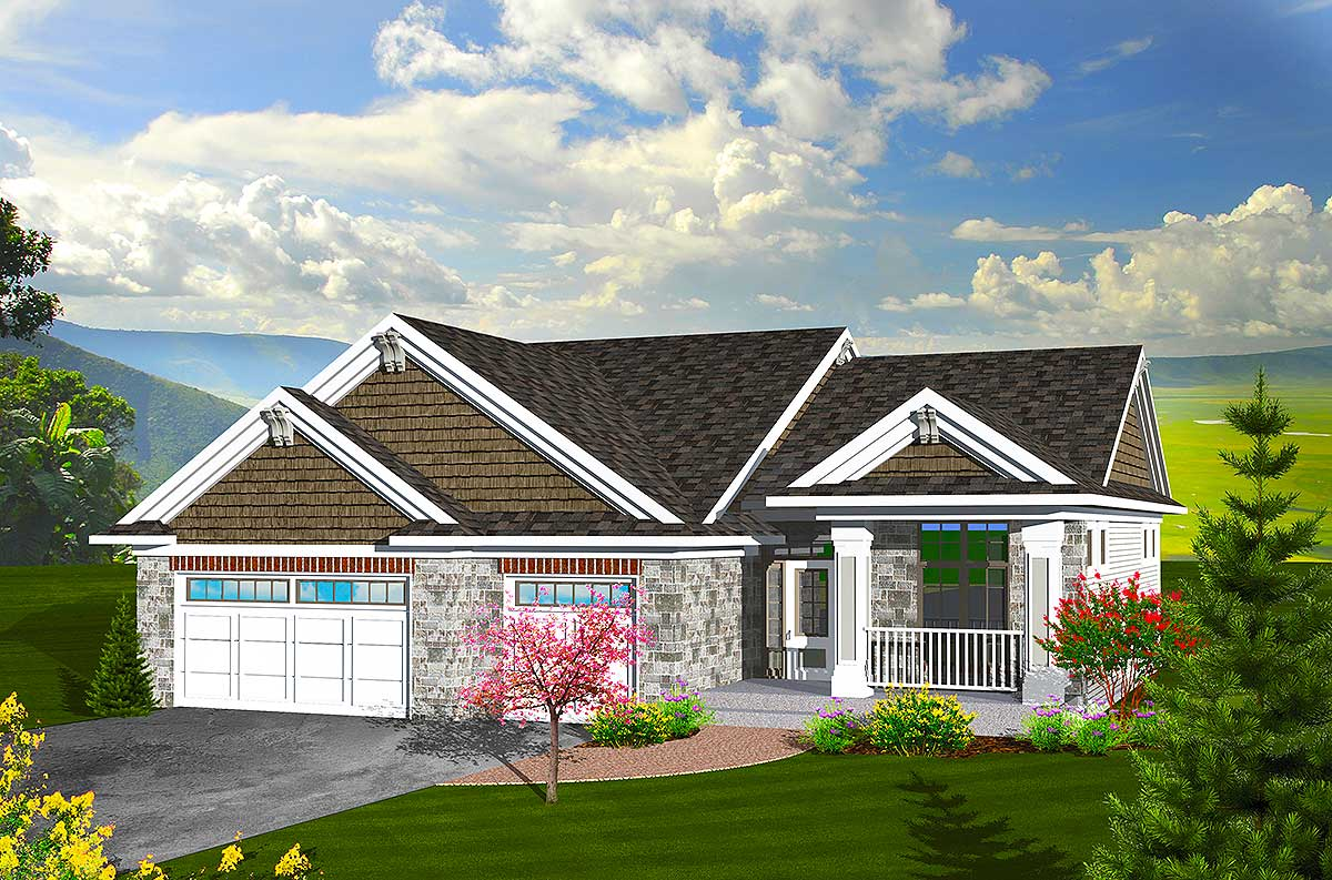 Craftsman Ranch Home Plan - 89846AH