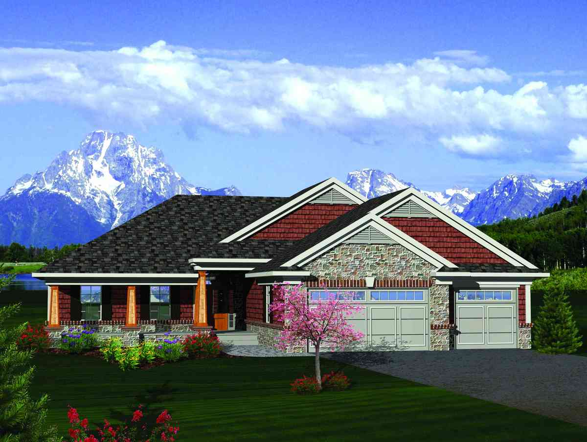 Craftsman ranch with sunroom 89852ah architectural for House plans with sunroom