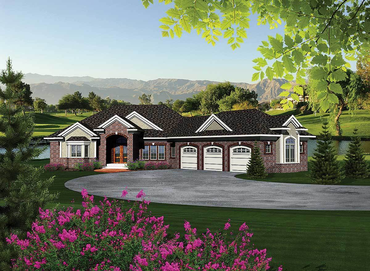 Ranch home plan with walkout basement 89856ah for Reverse ranch house plans