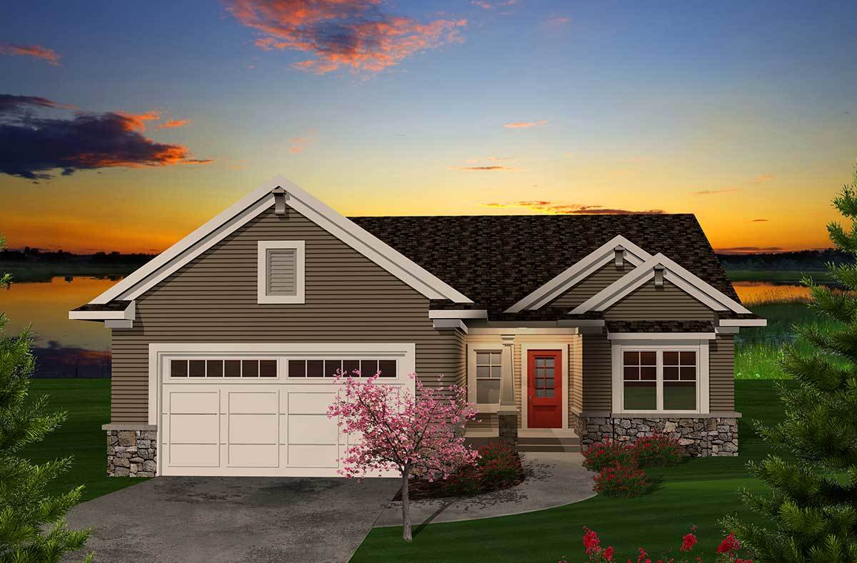 Traditional two bedroom with open floor plan 89861ah for Traditional open floor plans