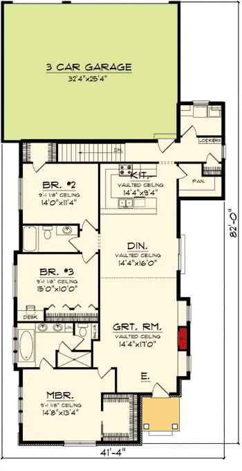 Cottage with rear load garage 89863ah 1st floor master for Rear master bedroom house plans