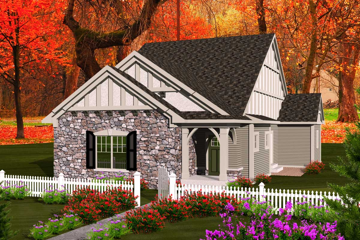 Cottage With Rear Load Garage 89863ah Architectural