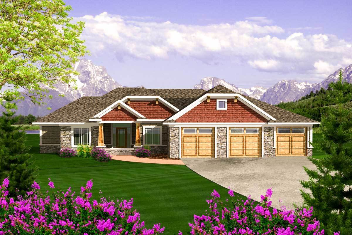 Craftsman ranch with 3 car garage 89868ah for Ranch house with garage