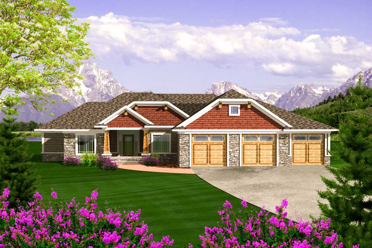 Craftsman ranch with 3 car garage 89868ah for Craftsman house plans 3 car garage