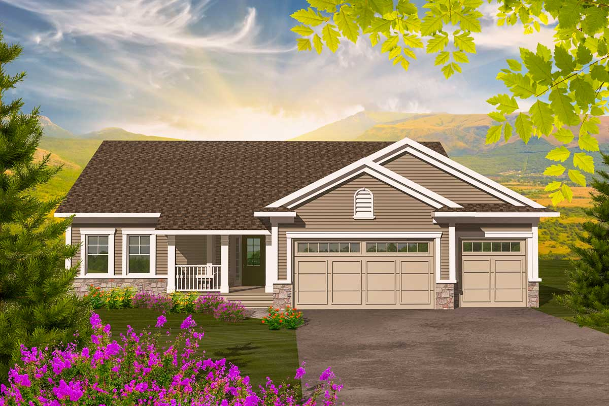 Affordable 3 bedroom ranch 89881ah architectural for Affordable ranch home plans