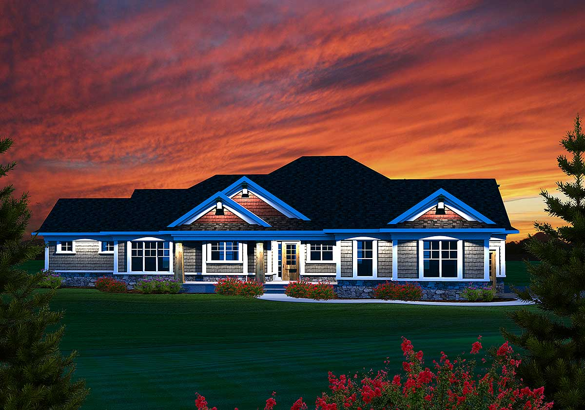 3 Bedroom Sprawling Ranch Home Plan - 89884AH
