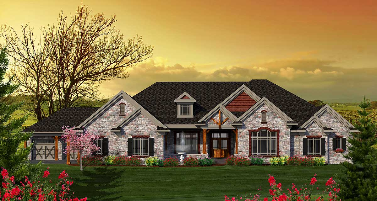 One Level Craftsman Home Plan 89896ah Architectural
