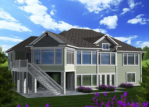 Craftsman ranch with walkout basement 89899ah 1st for Ranch home plans with walkout basement