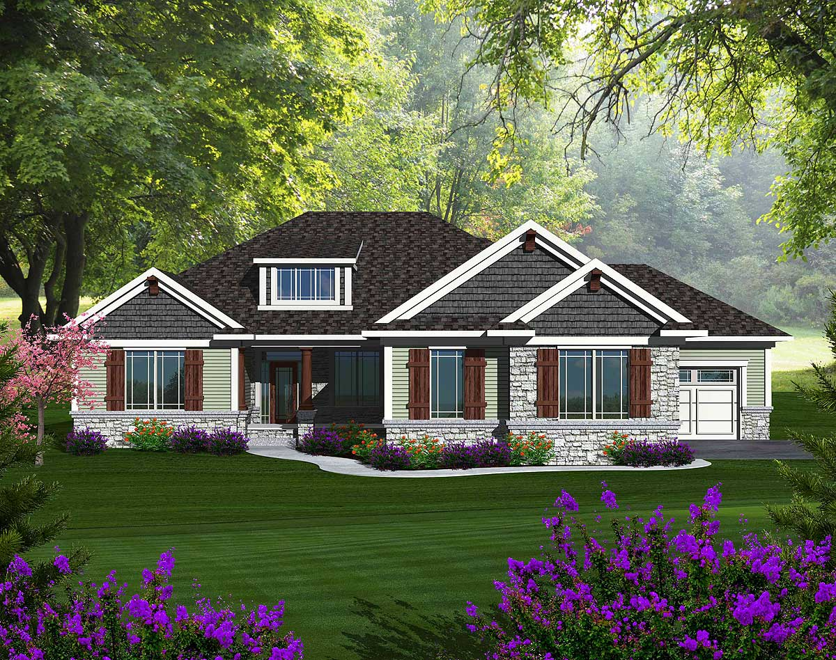 Craftsman ranch with walkout basement 89899ah 1st for Craftsman house plans 3 car garage