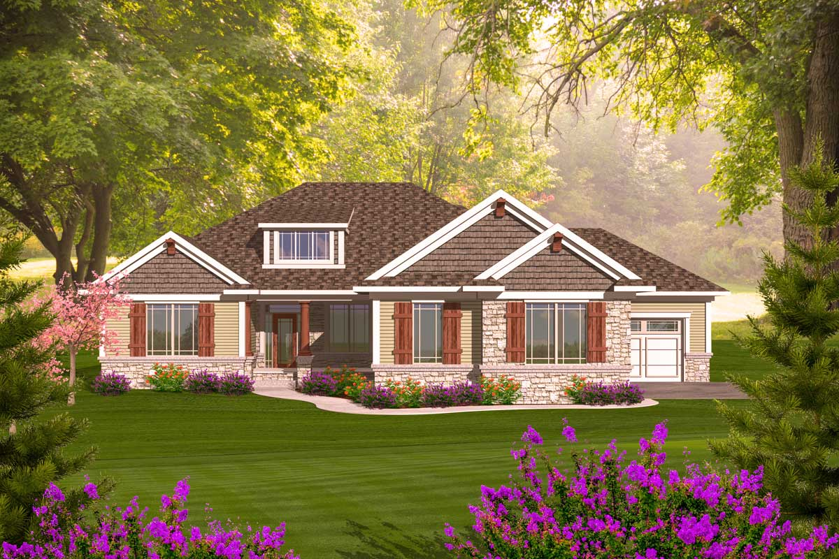 Craftsman ranch with walkout basement 89899ah 1st for Ranch house plans with basement 3 car garage