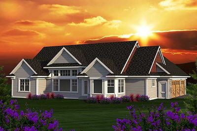 Craftsman ranch with sunroom 89914ah architectural for Ranch house plans with sunroom