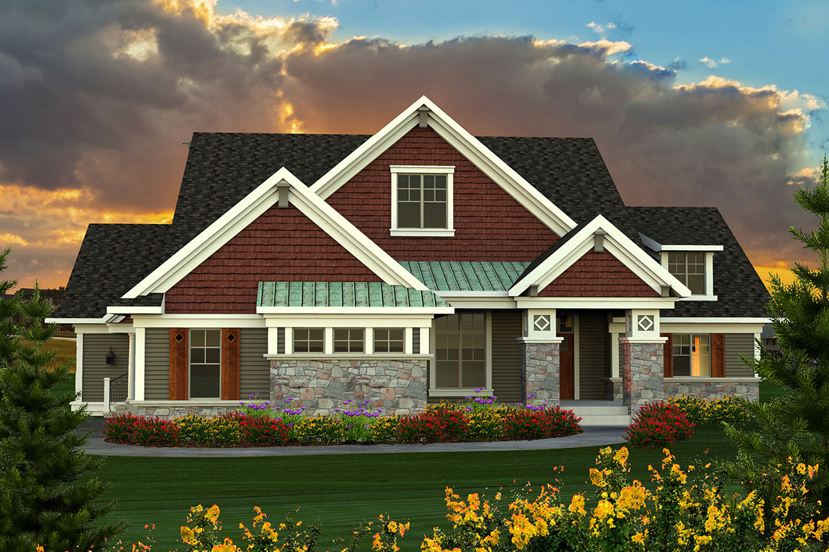 Ranch plan with large great room 89918ah architectural for Large ranch home floor plans