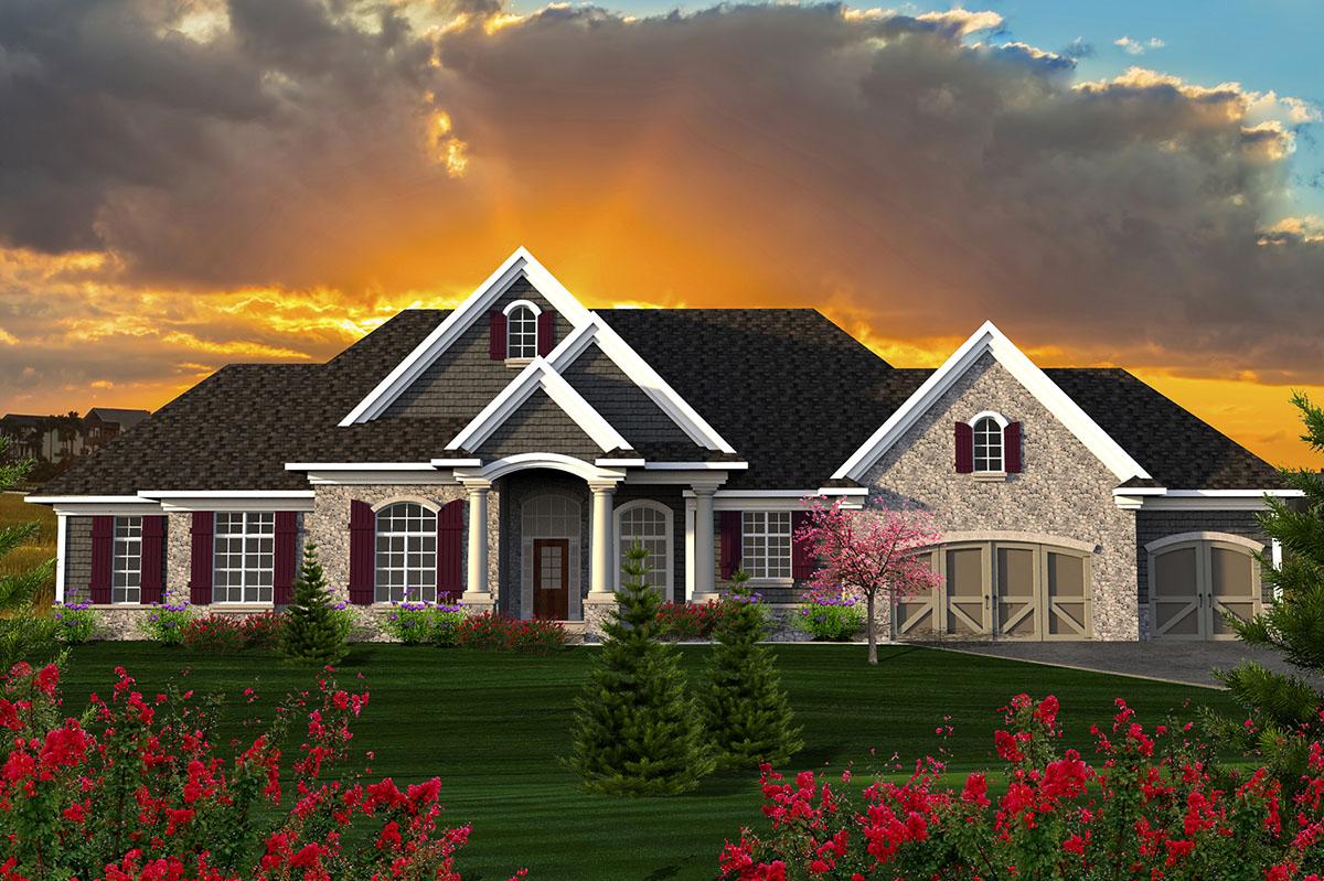 Sprawling craftsman ranch house plan 89922ah for Sprawling ranch homes