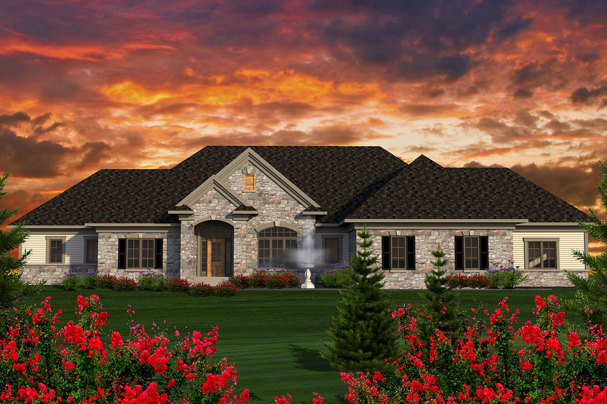 Sprawling ranch house plan 89923ah 1st floor master for Sprawling ranch home plans