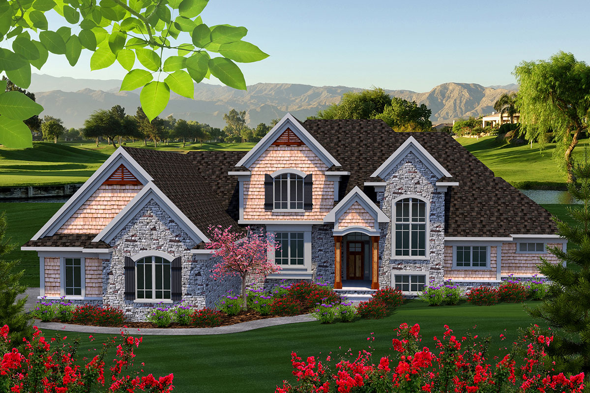 Traditional two story home with four bedrooms 89928ah for Architecturaldesigns com house plan 56364sm asp