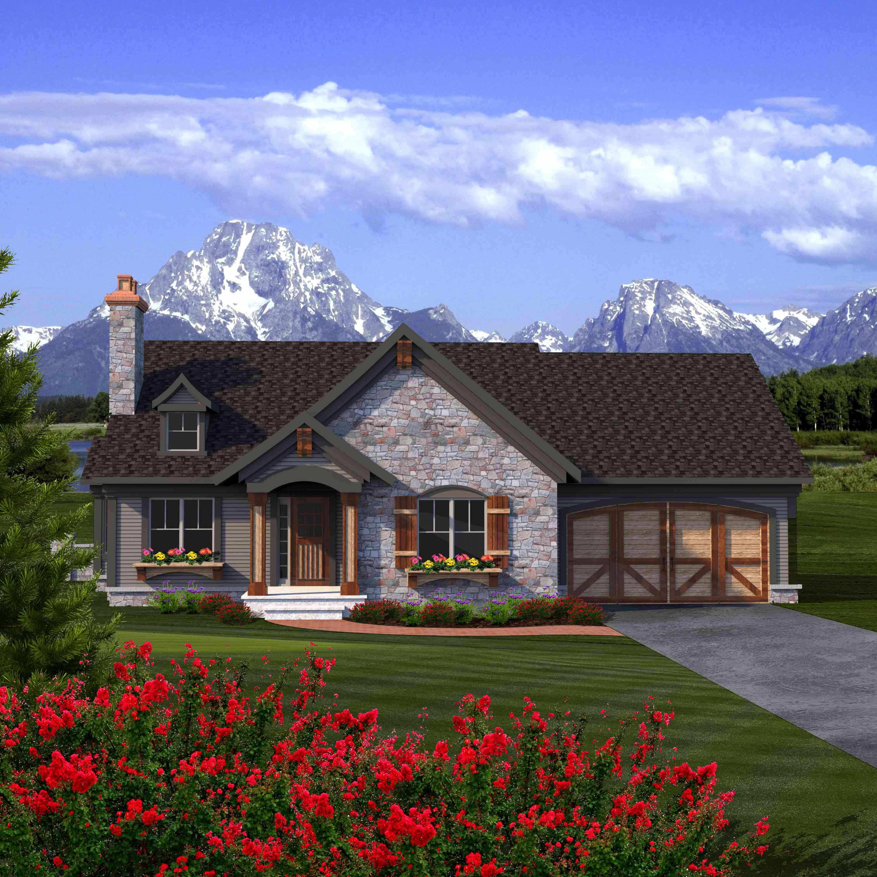 2 bed rustic ranch with stone exterior 89933ah 1st for Planimetrie ranch con 2 master suite