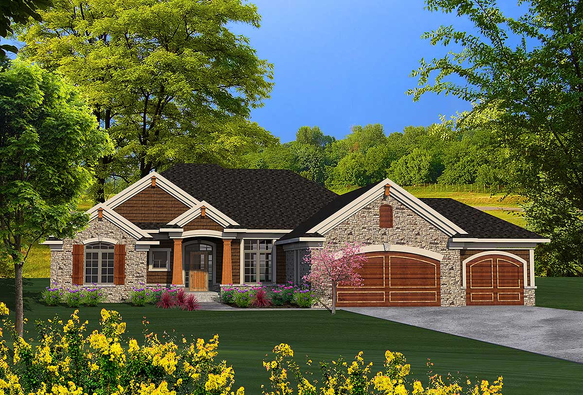 Ranch House Plan With Craftsman Detailing 89939ah 1st