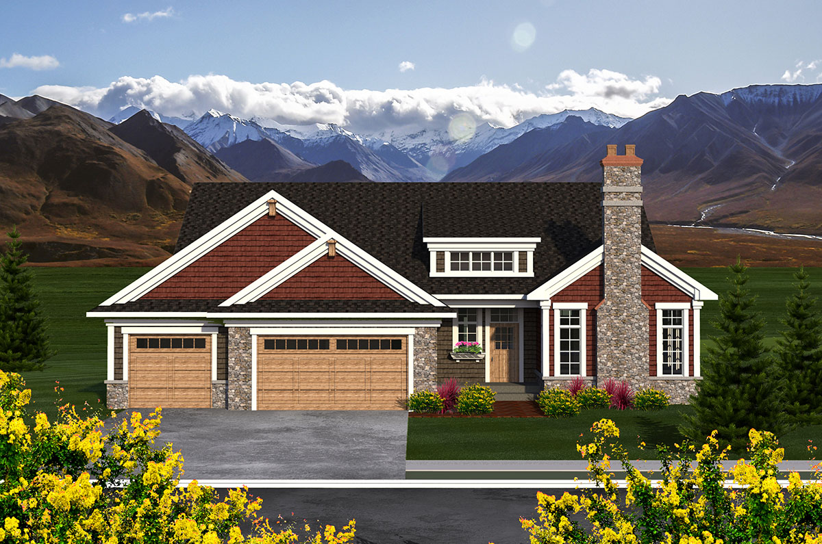 3 bed craftsman house plan with vaulted interior 89940ah for Architecturaldesigns com house plan 56364sm asp