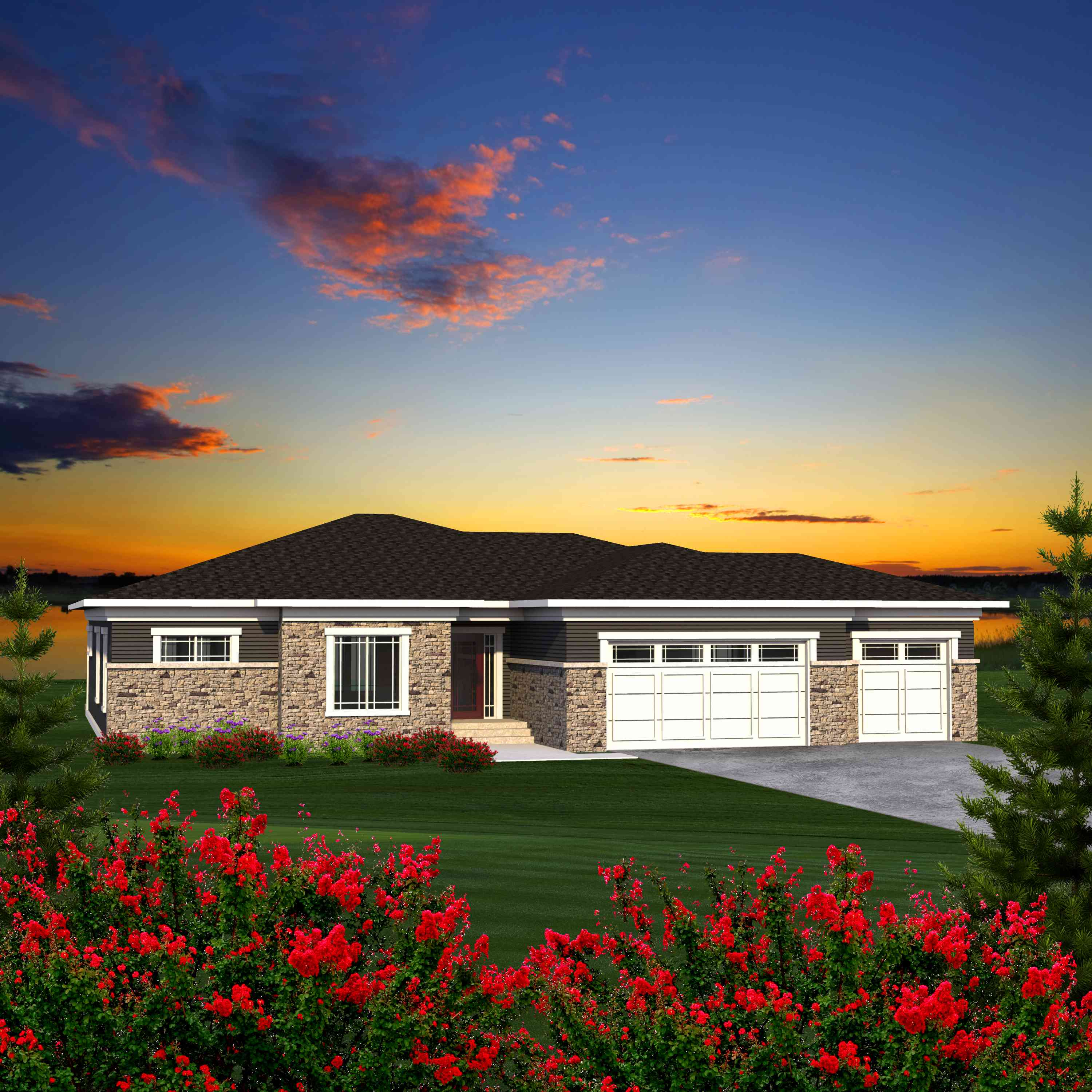4 bed prairie style ranch house plan 89941ah 1st floor for Prairie style ranch