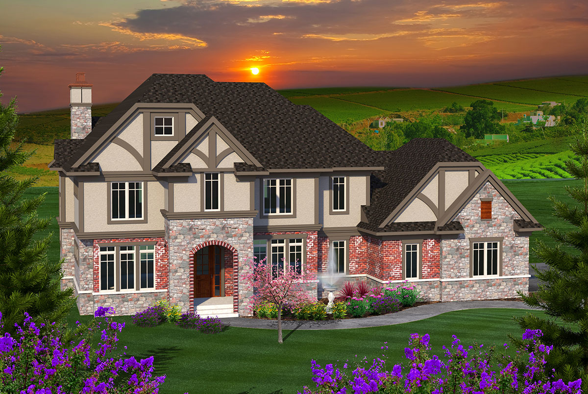 Tudor meets country french 89949ah architectural for French country tudor house plans