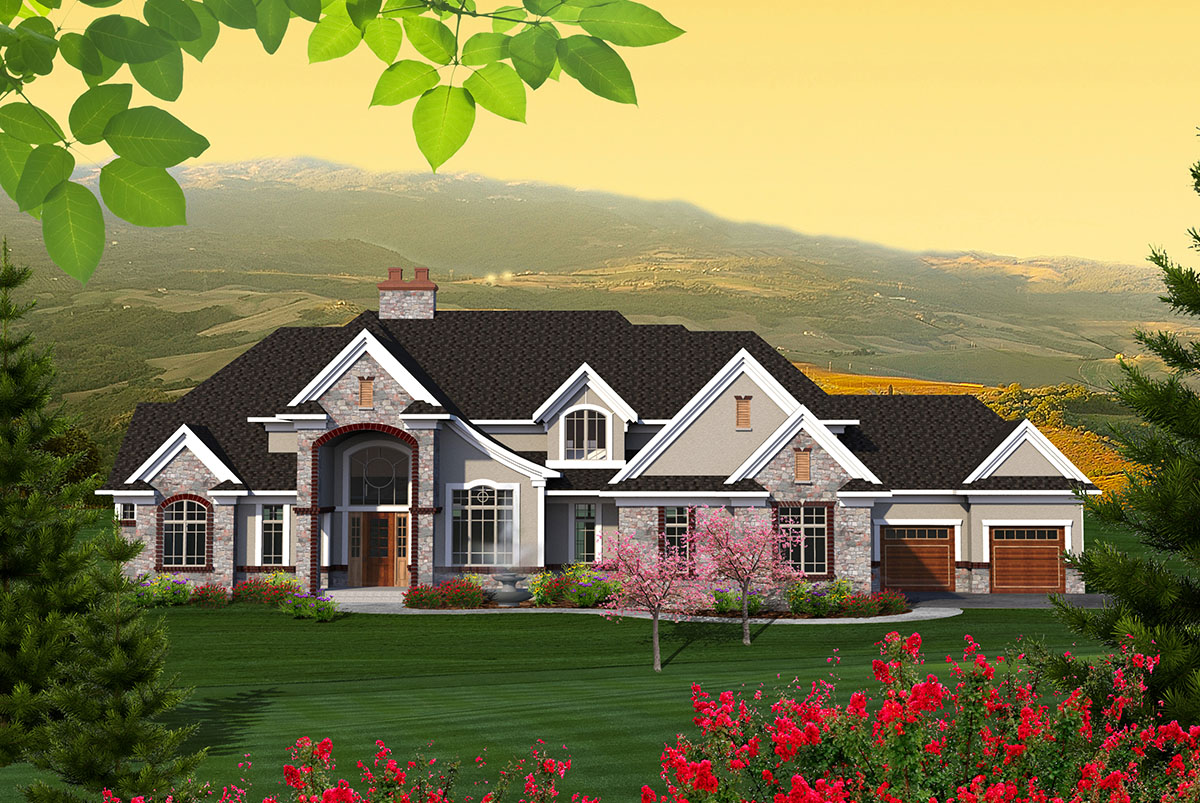 Sprawling european house plan 89950ah architectural for European house design