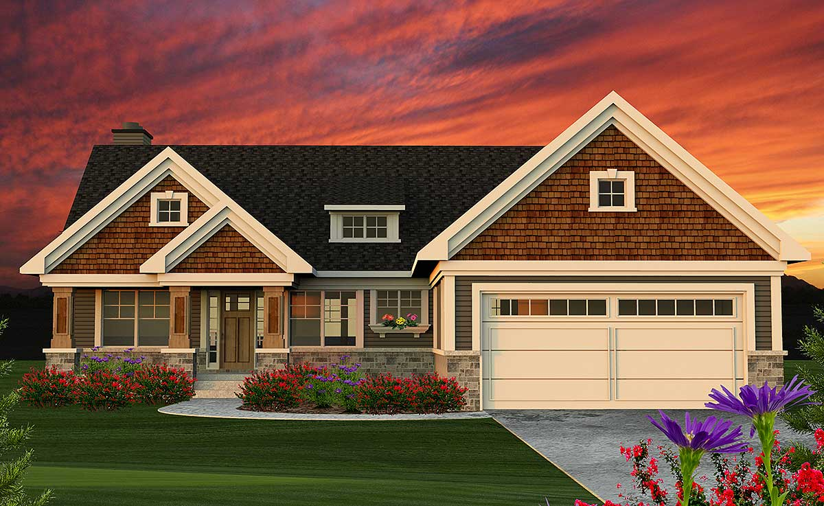 2 Bed Craftsman Ranch Home Plan - 89954AH | Architectural ...