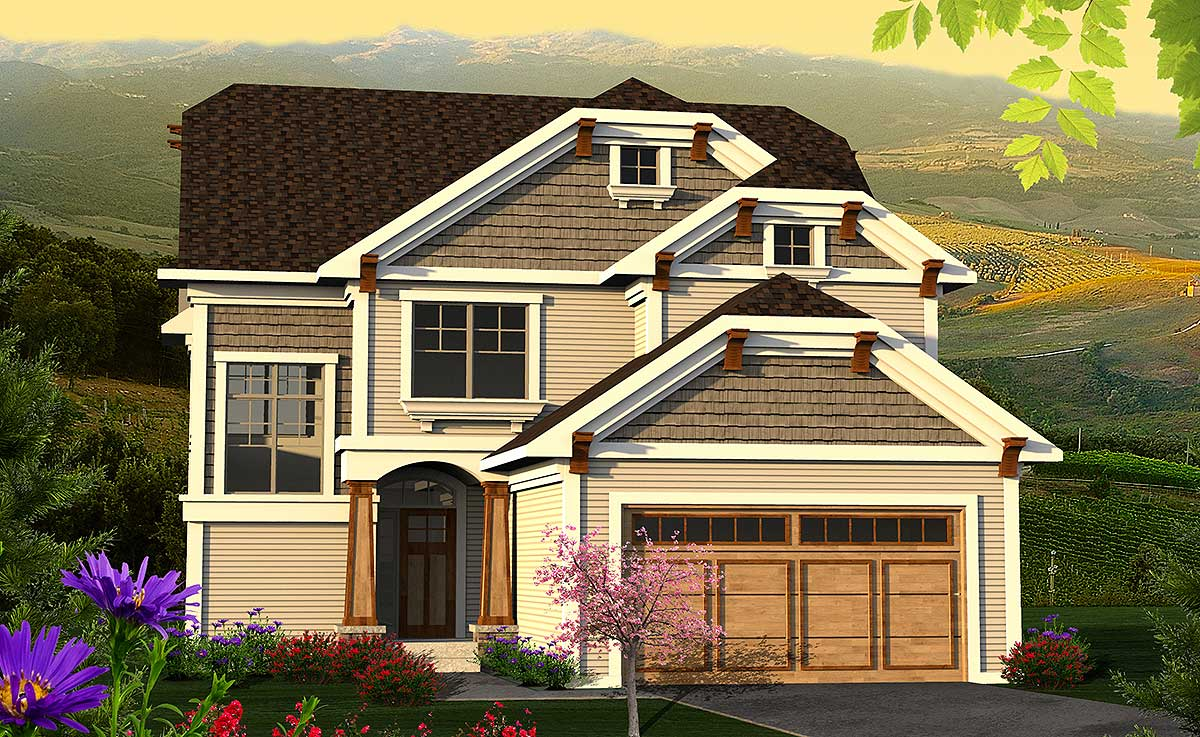 Clipped gable craftsman home plan 89956ah Gable house plans