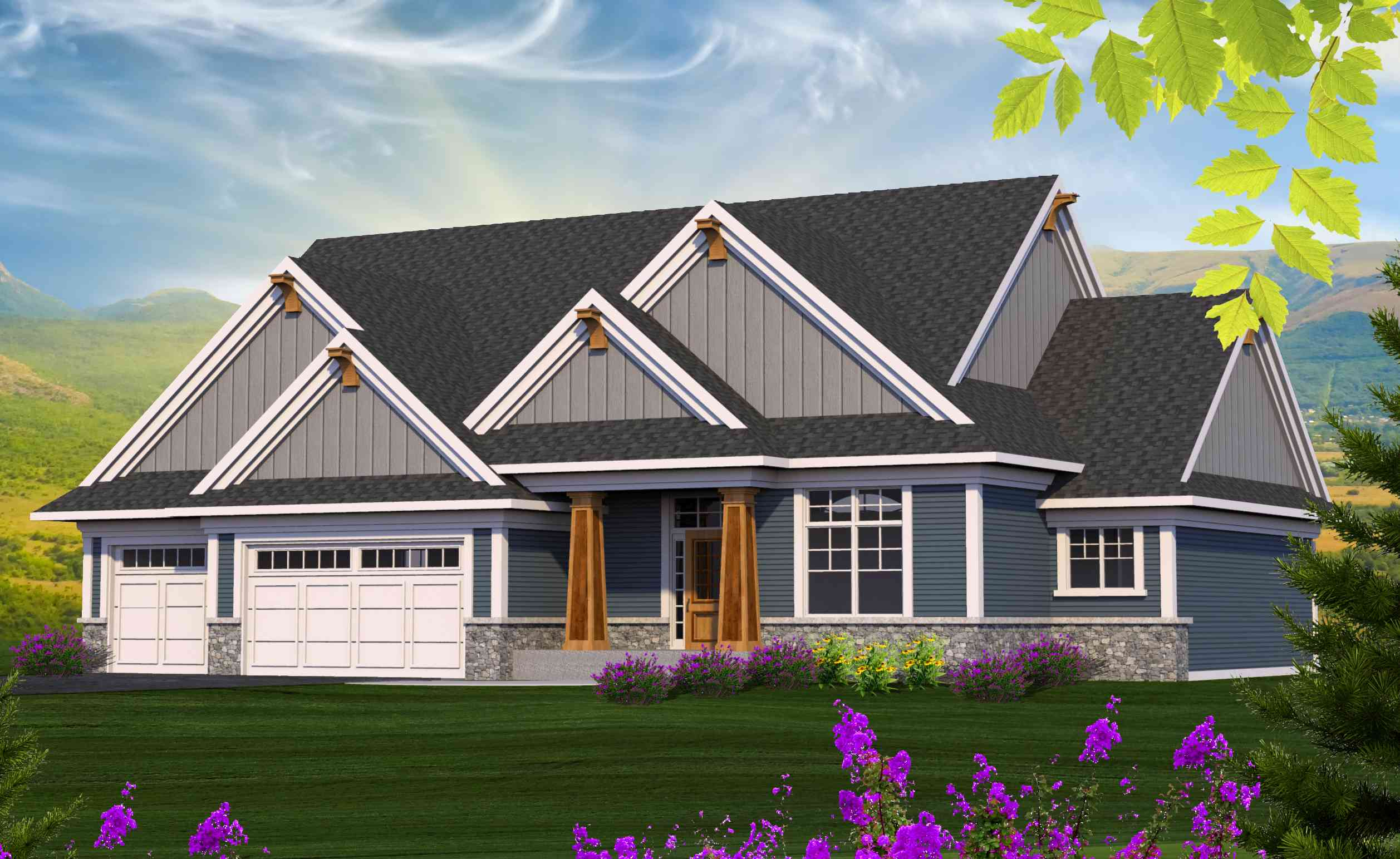 4 gabled craftsman ranch home plan 89960ah 1st floor for Homes with master bedroom on first floor
